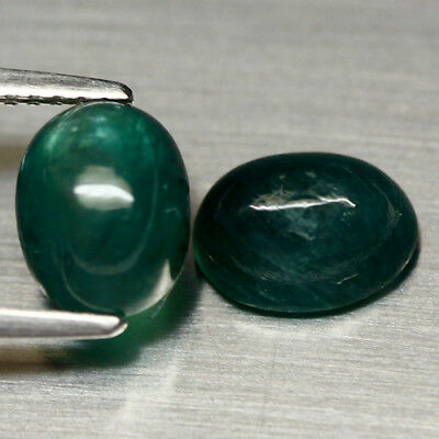3.76 Ct Natural! Pair! Green African Grandidierite Oval Cabochon
