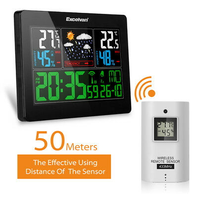 BLACK EXCELVAN COLOR Wireless Weather Station With Forecast,Temperature,Humidity