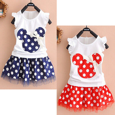 AU Kids Baby Girls Minnie Mouse Party Dress Vest Skirt Toddler Clothes 1-4Year