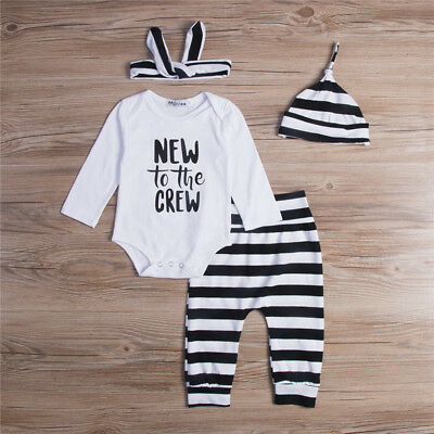 4PCS Infant Baby Boys Girls Striped Romper Pants Leggings Outfits Clothes Set