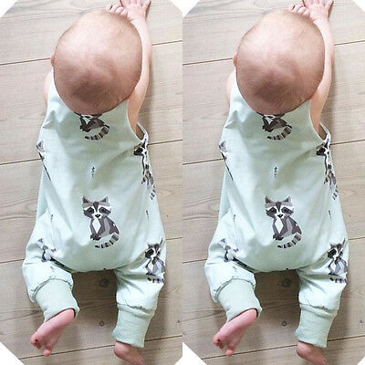 Newborn Infant Baby Boy Girls Raccoon Romper Bodysuit Jumpsuit Outfits Clothes w