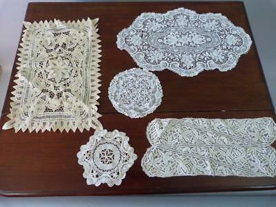 Superb collection of antique Victorian lace table mats / doilies
