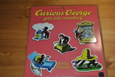 Curious George Gets into Mischief Handy Magnet set Blue Q 1995