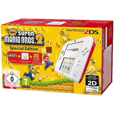 NINTENDO 2DS Weiß/Rot + New Super Mario Bros. 2 (Special Edition) , Weiß, Rot