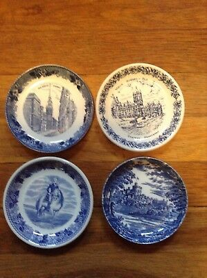 4 Vintage Blue White Assorted Butter Pats Trinket Dishes Made in England