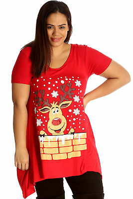 43ad9719a02 New Womens Top Plus Size Ladies Rudolph Reindeer Christmas Print Sale  T-Shirt