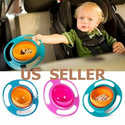 Universal 360°Baby Kids Infant Feeding Dishes Gyro Bowl  Rotate Spill-Proof Bowl
