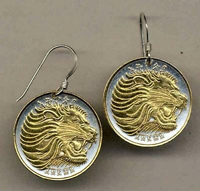 """Ethiopia 25 Cent """"Lion"""" Silver and 24k Gold Plated Coin Drop/Dangle Earrings"""