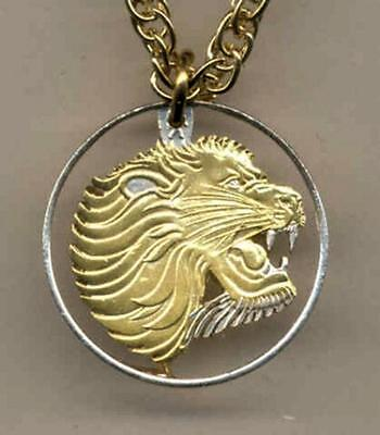 """Ethiopia 25 Cent Silver & Gold Plated 18"""" or 24"""" (cut out Lion) Coin Necklace"""