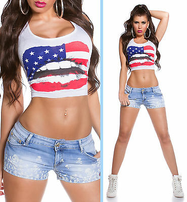 JEANS HOT PANTS Sexy Shorts BLUE WASHED Gr. 34 36 38