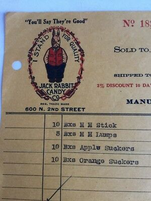 1933 Jack Rabbit Candy Company St. Louis MO Letterhead, Invoice For Suckers
