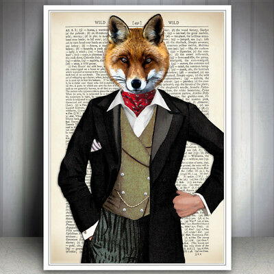 Fox Animal Art Print Vintage Dictionary Style  Page Wall Dapper Antique Book Old