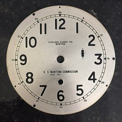 Chelsea Clock Co. Silvered Brass Six Inch U.S. MARITIME COMMISSION Dial