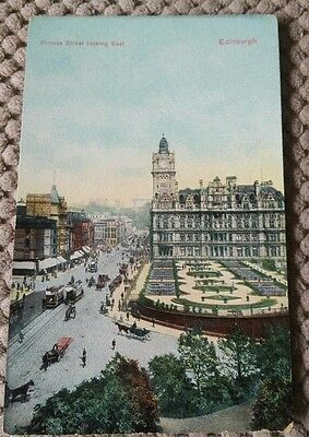 Vintage Scottish Postcard Edinburgh, Princes Street Looking East