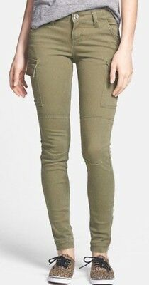 STS Blue NEW Solid Olive Green Skinny-Leg Cargo Pants Size 00 $49
