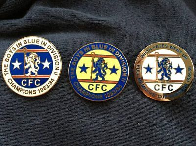 Set of Three Chelsea badges 1980's - Division Two and Full Members' Cup Winners