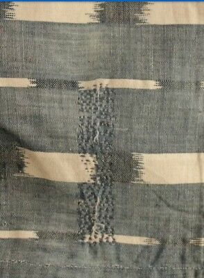 Antique French c1780 Ikat Darned Faded Indigo Homespun Hand Woven Fabric 40x31""