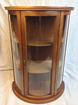 Vintage Miniature Curved Glass Wood Curio Cabinet Table Wall Shelf Display Case