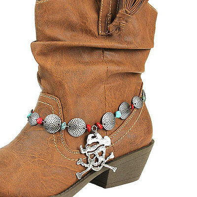 Skull Cross Bones Cowboy Hat Western Cowgirl Boot Strap Anklet Jewelry  11-7
