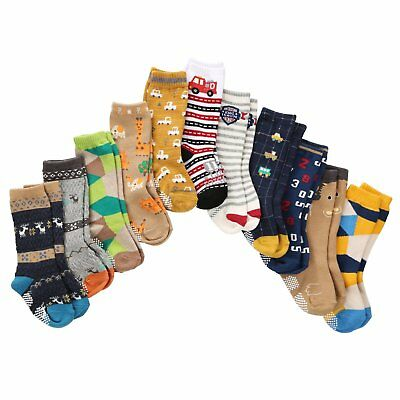 7 Pairs Toddler Boy Non Skid Socks Knee High Cotton Thick with Grips Baby Boy...