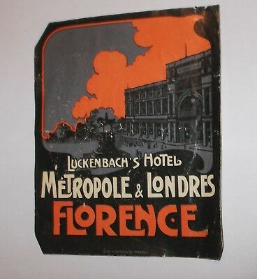 Vintage Original Unused Luggage Label Baggage Decal LUCKENBACH'S HOTEL FLORENCE