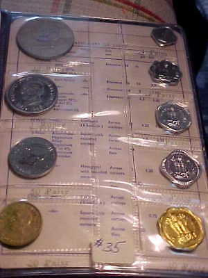 1969 REPUBLIC OF INDIA 9 Coin Proof Set with Silver10 Rupee in Original Folio!