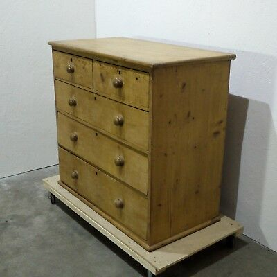 Antique Solid Pine Chest of Five Drawers  (89)