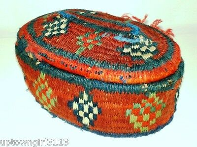 RARE 1800s NOMADIC TRIBAL Wool Wrapped BASKET exceptional BEDOUIN?