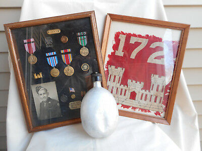 IDENTIFIED US WWII MEDAL FLAG AND CANTEEN GROUPING OF A 172nd COMBAT ENGINEER