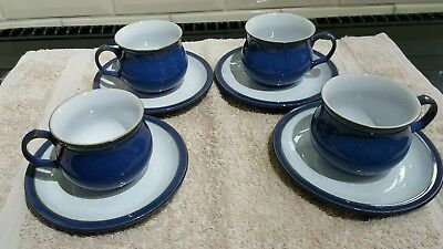 Denby Imperial blue cups and saucers four excellent condition