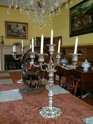 Vintage~Silver plate~Candelabra/Candle Holder~5 Candlesticks~Free Shipping