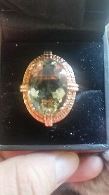 Green  Topaz Vintage Style 18K Gold Plated 925 Sterling Silver Ring 5.75