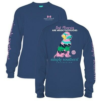 Simply Southern Womans Tee Long T-Shirt Preppy Dog Puppy Best memories Outdoors