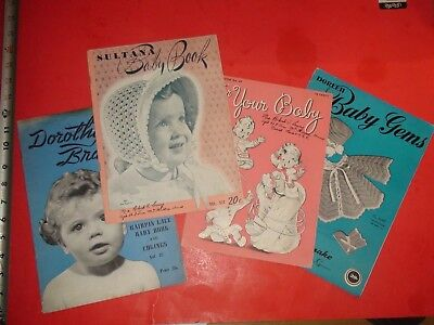 JA979 Vintage LOT of 4 1940's Baby Clothes Sewing Pattern Books