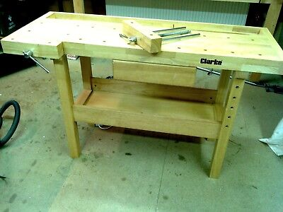 Clarke wooden work bench c/w two vices