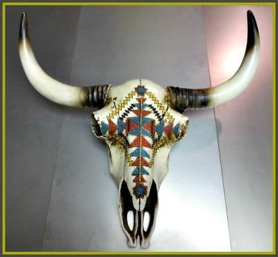 Western Cow Skull Rustic Aztec Tribal Design Hanging Wall Sculpture Hand Painted