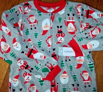 NWT Carter's Gray/Red SANTA CLAUS/ELVES Footed Fleece Pajamas Boy/Girl 10 Xmas