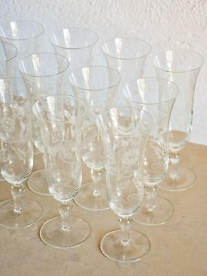 Set of twelve vintage French champagne flutes