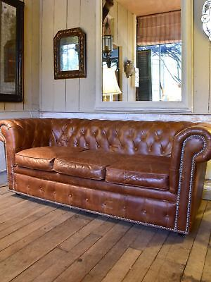 Leather Chesterfield three seat sofa from the 1940's