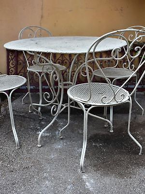 Vintage French garden table with four chairs