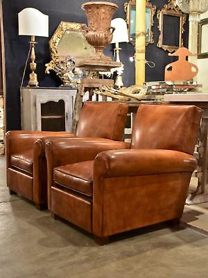 Pair of French leather club chairs - Taittinger