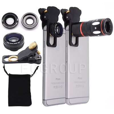 10X Clip-on Zoom Telescope Lens+Fisheye+Wide Angle+Macro Lens For iPhone Samsung