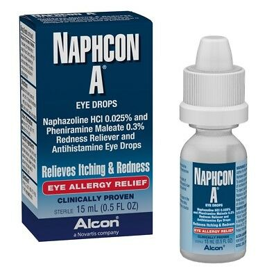 Alcon Naphcon A Eye Allergy Relief 0.5 oz Eye Drops Relieves Itching & Redness
