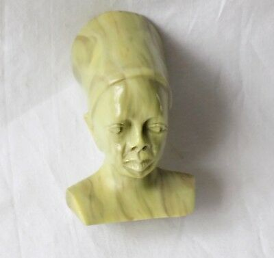 Vintage Carved African Hard Stone Small Bust, Head. Butter Jade ? Signed.