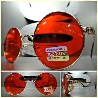 CLASSIC VINTAGE RETRO Style SUN GLASSES Round Blinder Gold Metal Frame Red Lens