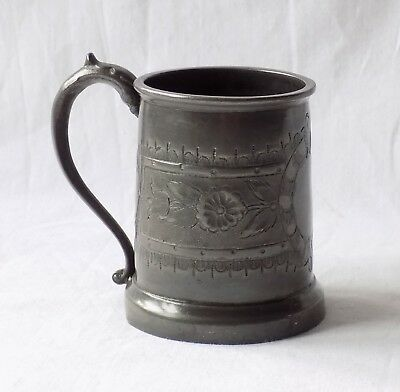 Antique Georgian, Victorian Small Hand Engraved Pewter Tankard. Serpent Handle.