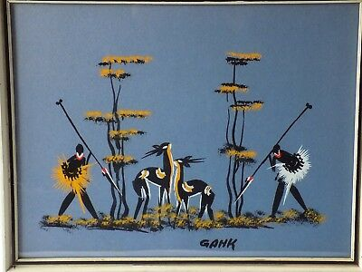 Vintage African Art Framed Hand Painted Picture. Stylised Hunters & Gazelle.