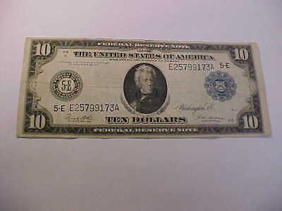 Beautiful 1914   $10 Large Currency Federal Reserve  Note Quality  Grade Note