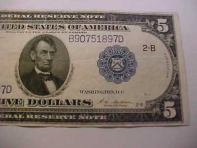 Beautiful 1914   $5 Large Currency Federal Reserve  Note Quality  Grade Note