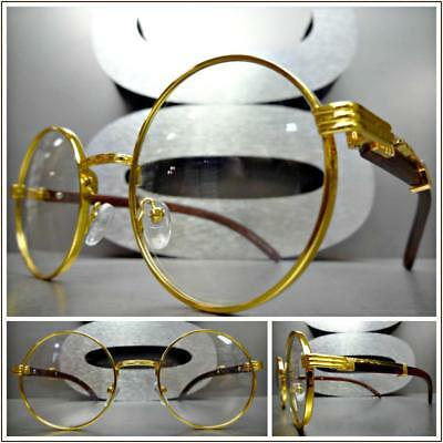 Men's CLASSY SOPHISTICATED Clear Lens EYE GLASSES Round Gold & Wood Wooden Frame